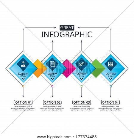 Infographic flowchart template. Business diagram with options. Accounting workflow icons. Human silhouette, cogwheel gear and documents folders signs symbols. Timeline steps. Vector