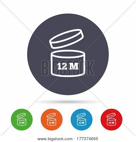 After opening use 12 months sign icon. Expiration date. Round colourful buttons with flat icons. Vector