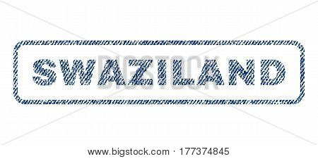 Swaziland text textile seal stamp watermark. Blue jeans fabric vectorized texture. Vector tag inside rounded rectangular shape. Rubber emblem with fiber textile structure.