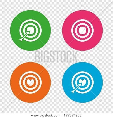 Target aim icons. Darts board with heart and arrow signs symbols. Round buttons on transparent background. Vector