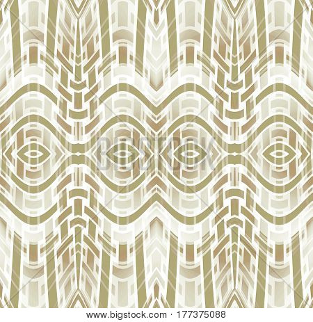 Abstract geometric seamless background. Regular ellipses and stripes pattern white, beige light brown, light gray and olive green, curved and modern.