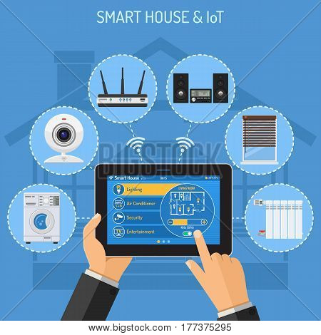 Smart House and internet of things concept with flat icons. Man holding tablet PC in hand and controls camera, blinds, washer, router and radiator. isolated vector illustration