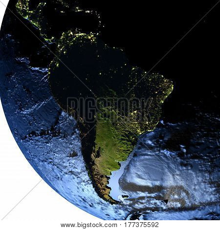South America On Earth At Night With Exaggerated Mountains