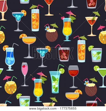 Vector Seamless Black Pattern With Tropical Cocktails, Juice, Wine Glass. Doodle Background With Bev