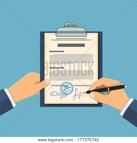 Man signs agreement. In one hand holds clipboard with contract, in other hand - pen. flat style icons. isolated vector illustration
