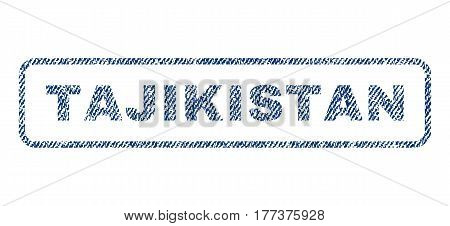 Tajikistan text textile seal stamp watermark. Blue jeans fabric vectorized texture. Vector caption inside rounded rectangular banner. Rubber sign with fiber textile structure.