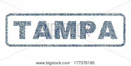 Tampa text textile seal stamp watermark. Blue jeans fabric vectorized texture. Vector caption inside rounded rectangular shape. Rubber sticker with fiber textile structure.