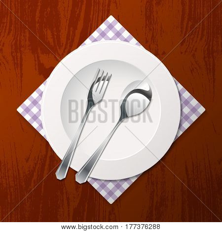 Silhouette of fork, spoon and plate with tissue on wooden background