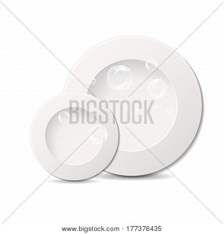 Two white plates isolated on white background with transparency bubbles