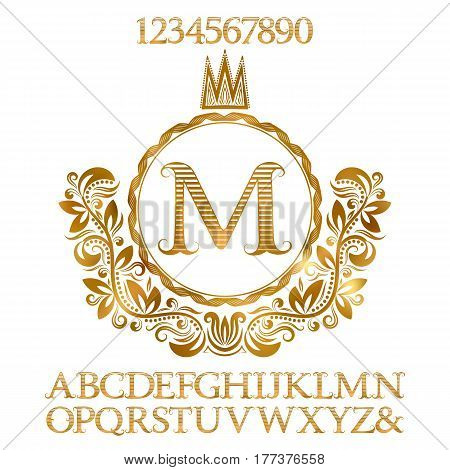 Golden striped letters and numbers with initial monogram in coat of arms form. Shining font and elements kit for logo design.