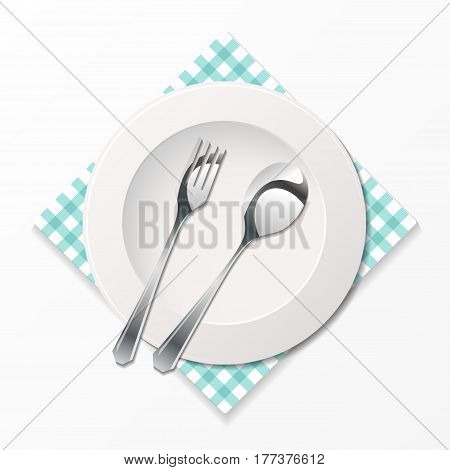 Silhouette knife, fork, spoon and plate with tissue