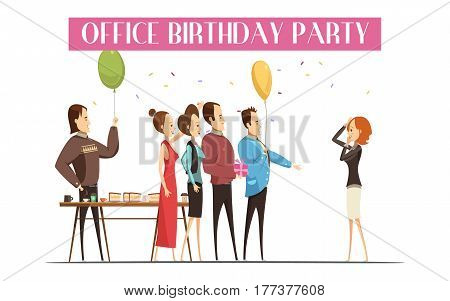 Birthday party in office with joyful people cake and drink gift and festive decorations vector illustration