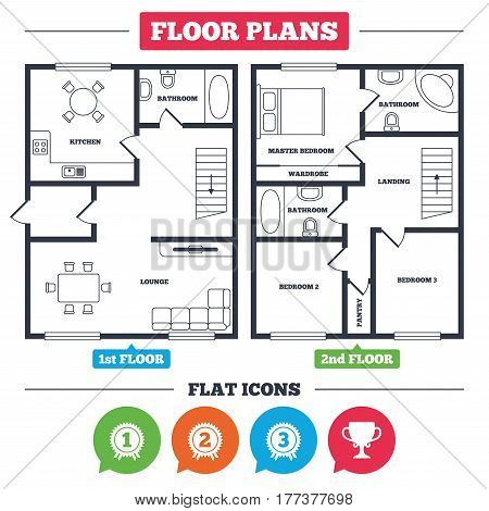 Architecture plan with furniture. House floor plan. First, second and third place icons. Award medals sign symbols. Prize cup for winner. Kitchen, lounge and bathroom. Vector