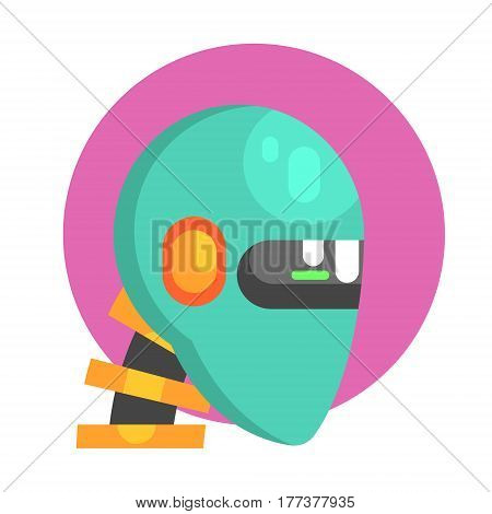 Blue Android Head Portrait, Part Of Futuristic Robotic And IT Science Series Of Cartoon Icons. Computer Technology Future Progress Illustration In Simple Bright Style With AI Bionic Objects.