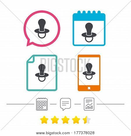 Baby's dummy sign icon. Child pacifier symbol. Calendar, chat speech bubble and report linear icons. Star vote ranking. Vector