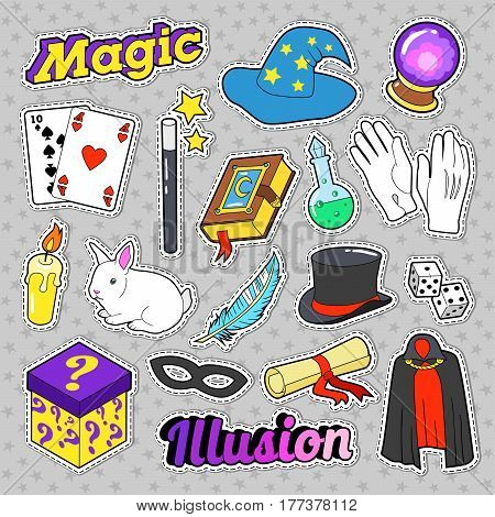 Magician Elements Set with Magic Wand, Mask and Cylinder for Stickers, Badges. Vector doodle