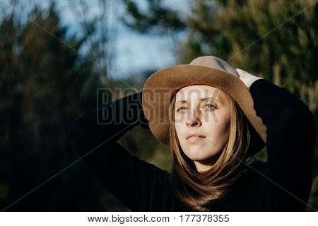 Shanti Young Hipster Woman In Stylish Hat  At Spring Day In Forest