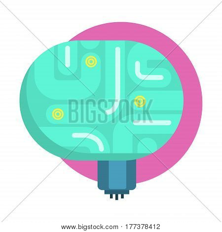 Elecrtonic Brain For Android, Human Organ Replica, Part Of Futuristic Robotic And IT Science Series Of Cartoon Icons. Computer Technology Future Progress Illustration In Simple Bright Style With AI Bionic Objects.