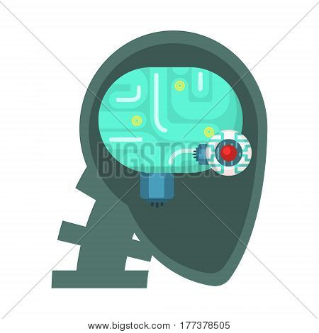 Android Head Cut Through With Electronic Eye And Brain Inside, Part Of Futuristic Robotic And IT Science Series Of Cartoon Icons. Computer Technology Future Progress Illustration In Simple Bright Style With AI Bionic Objects.