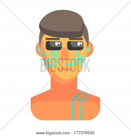 Humanized Android Portrait With Electronic Elements, Part Of Futuristic Robotic And IT Science Series Of Cartoon Icons. Computer Technology Future Progress Illustration In Simple Bright Style With AI Bionic Objects.