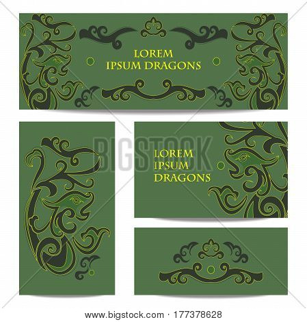 Dragon in Chinese style. Set of banners of green and gold colors in the style of jade stones.
