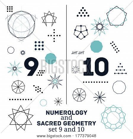 Sacred geometry and numerology symbols vector illustration. Set of numbers nine and ten. Design for meditation spiritual geometry