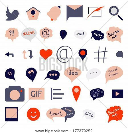 Social media icons set with speech bubble and hashtags. Concept of number sign networks sale and microblogger. Isolated on white background. Flat style trendy modern logo design vector illustration