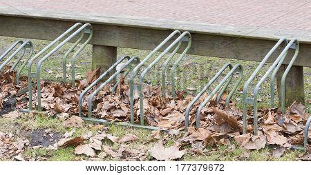 Bike Rack In Front Of A School