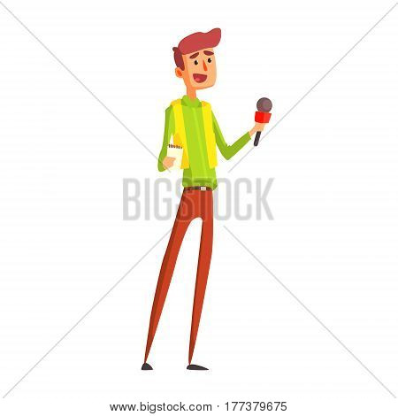 Journalist Taking Interview, Official Press Reporter Working, Collecting Information And Making News, Part Of Journalism Set Of Illustrations. Cartoon Character Doing Journalistic Job For Magazine Or Television.
