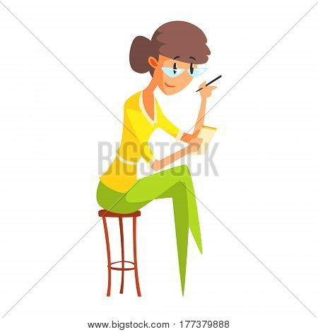 Journalist In Glasses Taking Notes, Official Press Reporter Working, Collecting Information And Making News, Part Of Journalism Set Of Illustrations. Cartoon Character Doing Journalistic Job For Magazine Or Television.