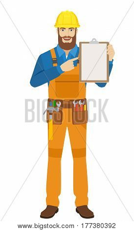 Worker pointing at a clipboard. Full length portrait of worker in a flat style. Vector illustration.