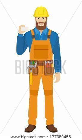 Worker showing the business card. Full length portrait of worker in a flat style. Vector illustration.