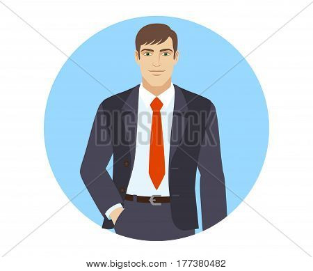 Businessman standing with hand in pocket. Portrait of businessman in a flat style. Vector illustration.