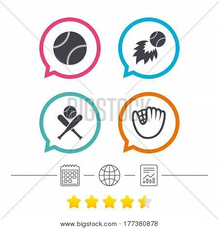 Baseball sport icons. Ball with glove and two crosswise bats signs. Fireball symbol. Calendar, internet globe and report linear icons. Star vote ranking. Vector