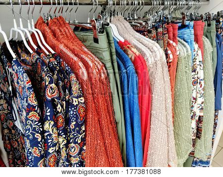 Women's blouses on the hanger in the store