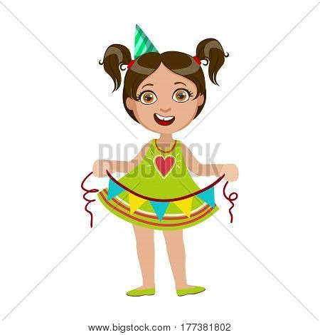 Girl With Garland, Part Of Kids At The Birthday Party Set Of Cute Cartoon Characters With Celebration Attributes. Adorable Child Celebrating And Partying , Vector Illustration Isolated On White Background.