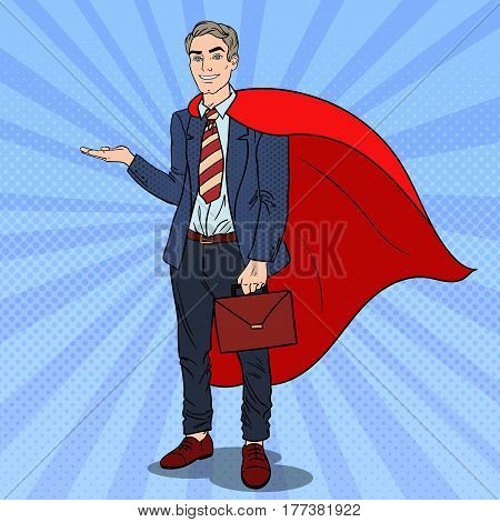 Pop Art Super Businessman in Red Cape Pointing on Copy Space. Business Presentation. Vector illustration