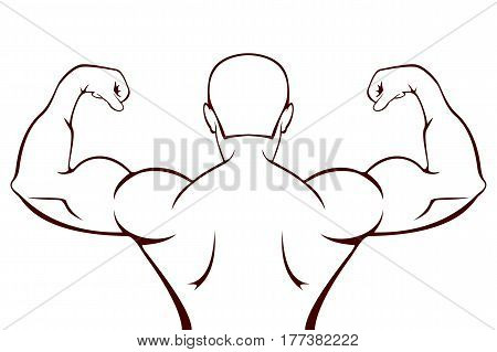 Silhouette of a muscular man black icon isolated on white background, illustration.