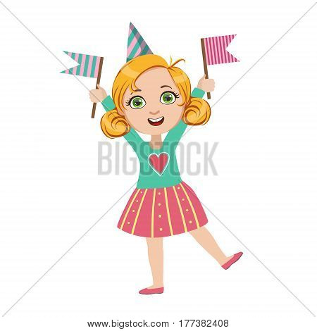 Girl With Two Flags, Part Of Kids At The Birthday Party Set Of Cute Cartoon Characters With Celebration Attributes. Adorable Child Celebrating And Partying , Vector Illustration Isolated On White Background.