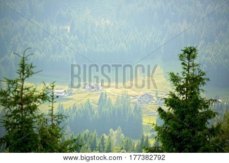 Landscape view of a little village in Swiss Alps on sunset Switzerland