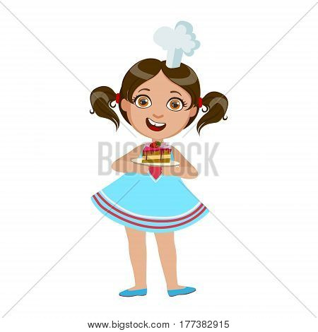 Girl Holding Plate With Piece Of Cake, Cute Kid In Chief Toque Hat Cooking Food Vector Illustration. Young Child Wanting To Become A Cook In Cooking Class Smiling Cartoon Character.