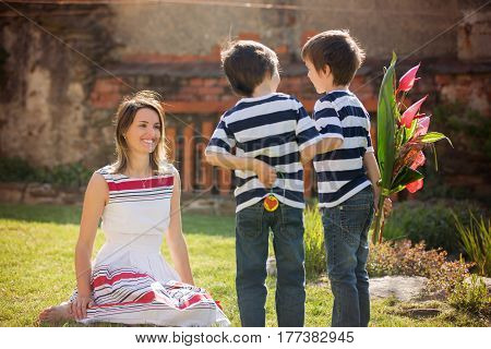 Cute Little Boy, Giving Present To His Mom For Mothers Day
