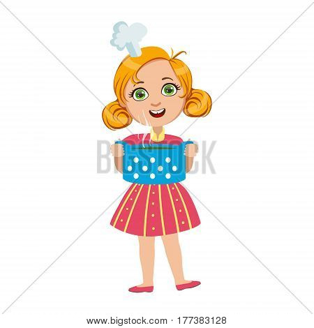 Girl Holding Pot Of Hot Soup, Cute Kid In Chief Toque Hat Cooking Food Vector Illustration. Young Child Wanting To Become A Cook In Cooking Class Smiling Cartoon Character.