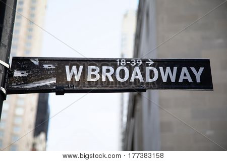 Black and White West Broadway Sign in New York City