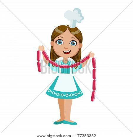 Girl Holding String Of Sausages, Cute Kid In Chief Toque Hat Cooking Food Vector Illustration. Young Child Wanting To Become A Cook In Cooking Class Smiling Cartoon Character.
