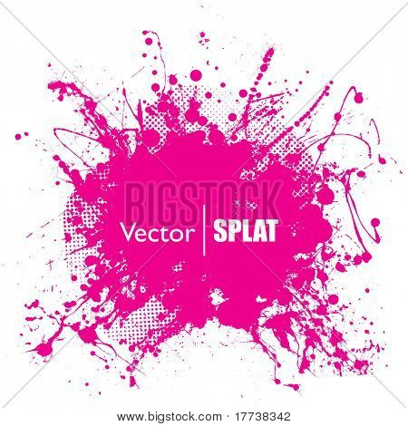 Grunge halftone ink splat with space for text or branding