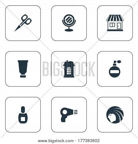 Vector Illustration Set Of Simple Barber Icons. Elements Flask, Aroma, Cut Tool And Other Synonyms Tool, Smell And Architecture.