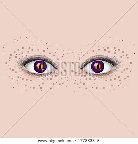 Female eyes with long eyelashes and beautiful eyeballs.