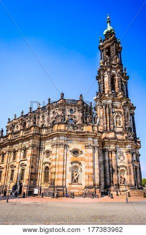 Dresden Germany. Cathedral of the Holy Trinity Hofkirche in Dresda Saxony.