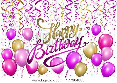 Happy Birthday Typography Vector Design For Greeting Cards And Poster With Pink Balloon, Confetti, D